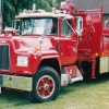 Mack R model with folding crane behind cab at Macungie, PA.