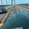'59 B61 going across the Tacoma Narrows bridge.