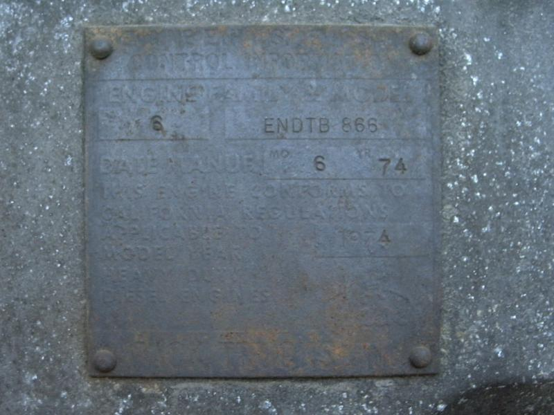 75' RL700L Engine tag