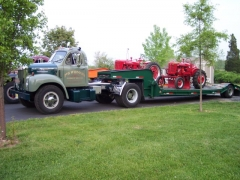 B66T with Farmall A on trailer