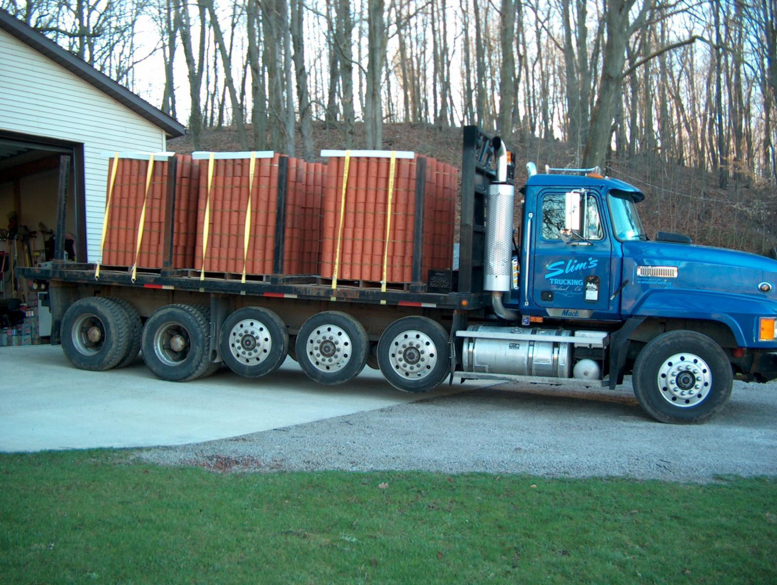 1995 CH with a load of clay tile