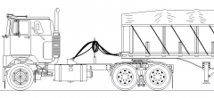F model with covered wagon MS Paint line drawing