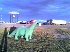 Fred the dinsoaur at the Lamar truck plaza