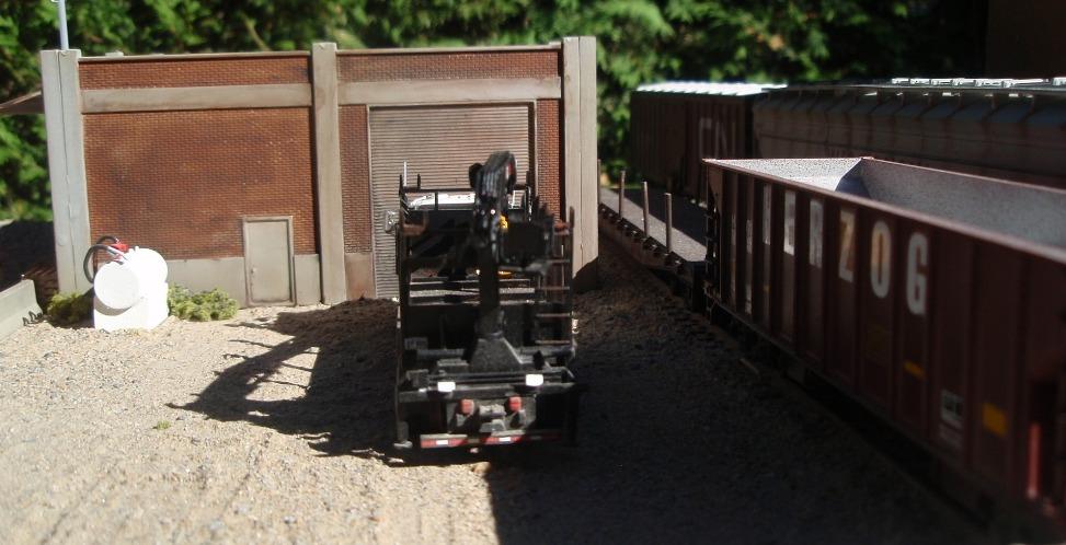 Mack CL hirail tie-handling truck - At the garage