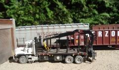 Mack CL hirail tie-handling truck