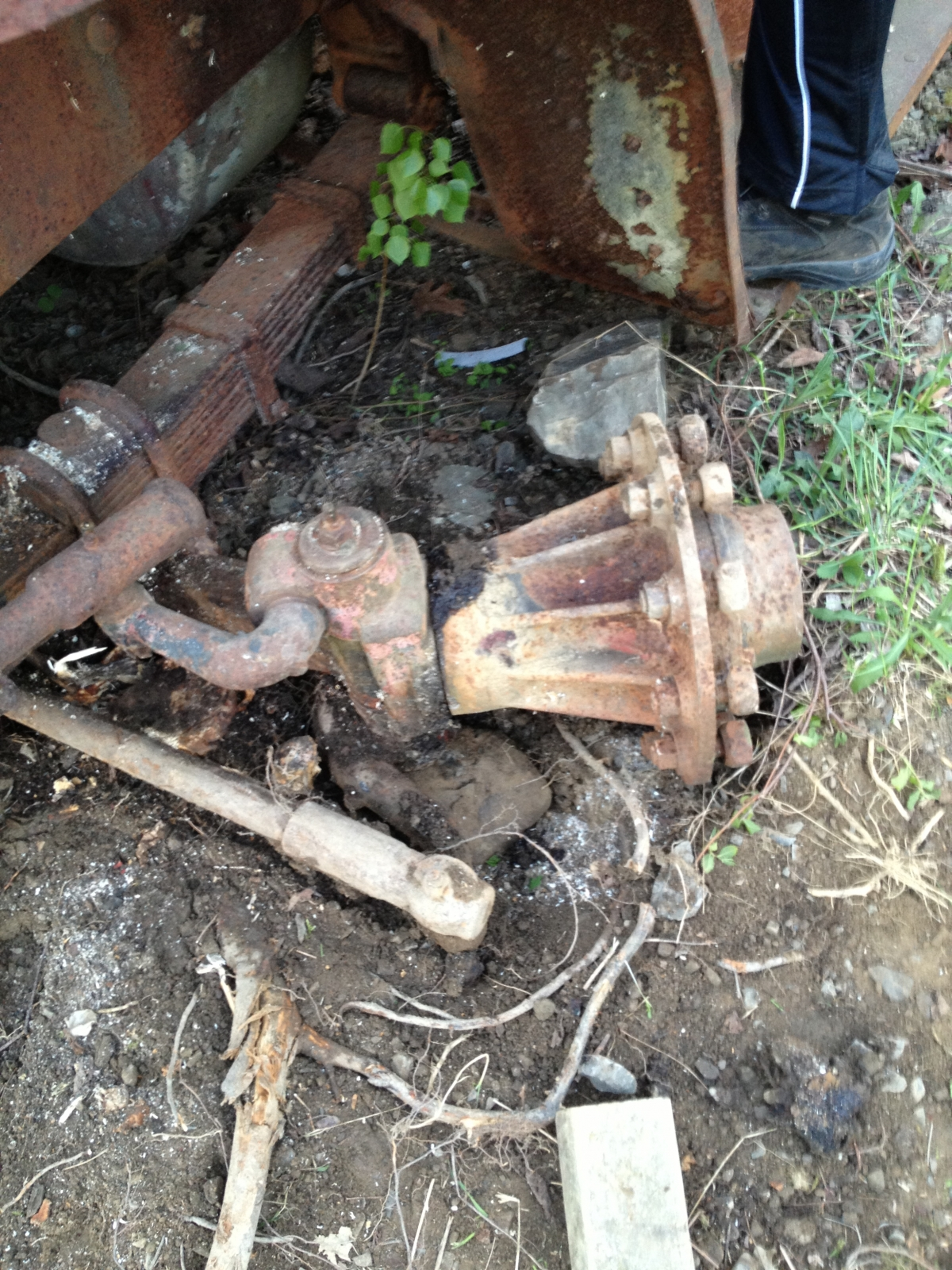 Budd spindles and hubs.  Turned freely when we dug it out.  Steering worked too!