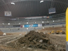 Filled stadium w/dirt to 2nd level