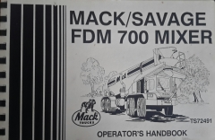 Mack/Savage FDM 700 Mixer Operator's Manual  ( Cover )