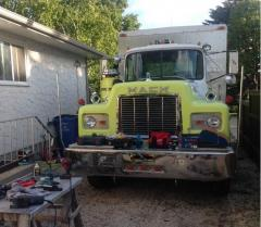 Working on the mack.